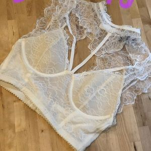 White lace cutout crop top